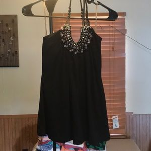 Tops - Black tie halter with beaded accents